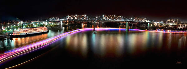 Lights Poster featuring the photograph Chattanooga Holiday Boat Parade by Steven Llorca