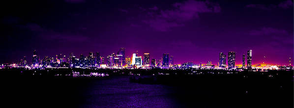 Panorama Poster featuring the photograph Distant Lights by Michael Guirguis