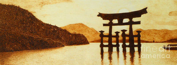 Pyrography Poster featuring the pyrography Floating Torii Gate by Annalisa Ferrari