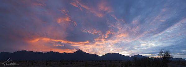 Amazing Sunset Poster featuring the photograph Gila River Indian Sunset Pano by Anthony Citro