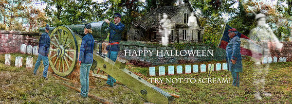 Ghosts Poster featuring the photograph Happy Halloween-try Not To Scream by EricaMaxine Price