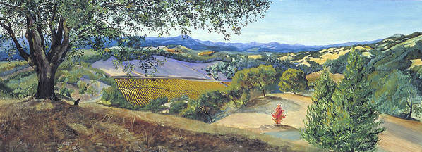 Northern California Landscape Painting Poster featuring the painting Lula Cat Under The Oak Tree In Autumn by Asha Carolyn Young