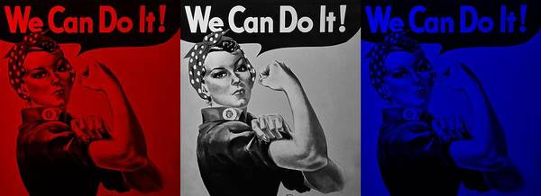Rosie The Riveter Poster featuring the photograph Rosie In American Colors by Rob Hans