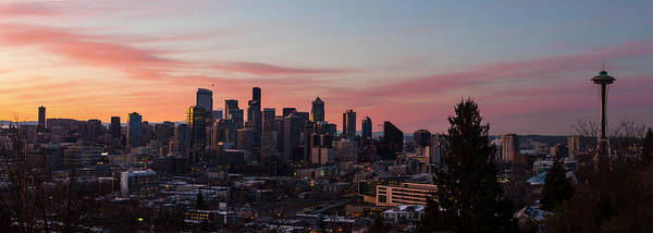 Seattle Poster featuring the photograph Seattle Cityscape Sunrise by Mike Reid