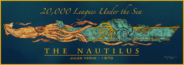Giant Squid Poster featuring the mixed media The Nautilus by William Depaula