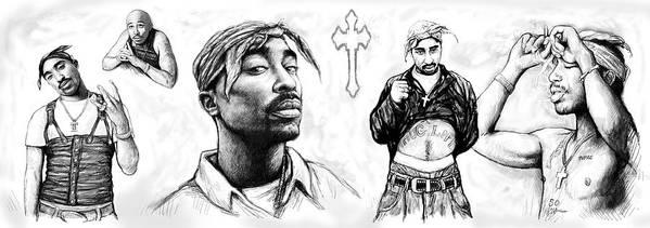 Tupac Shakur Long Drawing Art Poster Poster featuring the painting Tupac Shakur Long Drawing Art Poster by Kim Wang