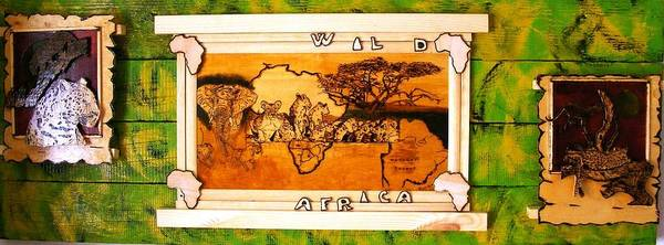 Pyrography Poster featuring the painting Wildlife Africa- Botswana Safari Wood Pyrography Fine Art by Egri George-Christian