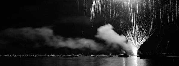 Panoramic Poster featuring the photograph Fireworks Tahoe Ca by Isak Hanold
