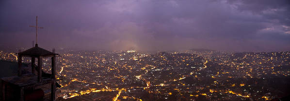 Panoramic Poster featuring the photograph Baguio At Night by George Cabig