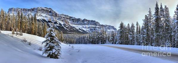 Castle Mountain Poster featuring the photograph Bow Valley Castle Cliffs by Adam Jewell