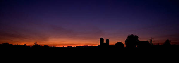 Farm Silhouette Lancaster Silo Sunset Sun Set Poster featuring the photograph Farm Silhouette by William Haney