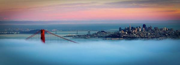Horizontal Poster featuring the photograph Golden Gate Foggy At Morning by Mark Brodkin Photography