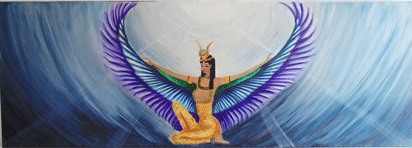 Goddess Isis Wings Poster featuring the painting Isis Wings by Alina Andronache