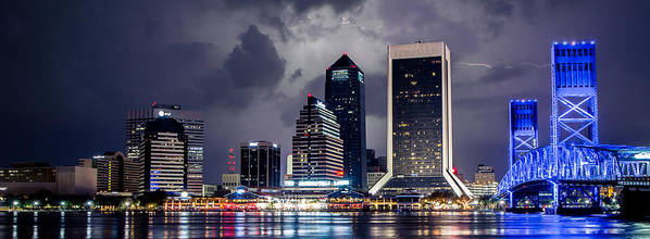 Jacksonville Poster featuring the photograph Jacksonville On A Stormy Evening by Jeff Turpin