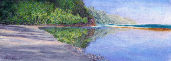 Rainbow Colors Pastel Poster featuring the painting Ke' E Beach In May by Kenneth Grzesik