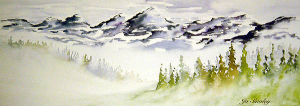 Rock Mountain Range Alberta Canada Poster featuring the painting Mist In The Mountains by Joanne Smoley