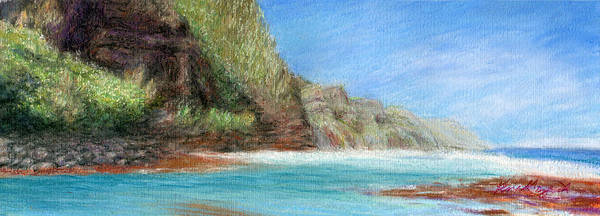 Rainbow Colors Pastel Poster featuring the painting Na Pali by Kenneth Grzesik