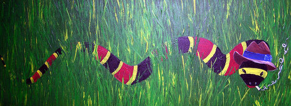 Coral Snake Poster featuring the painting Snake In The Grass by Sharon Supplee