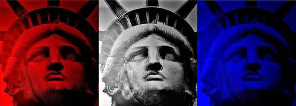 Statue Of Liberty Poster featuring the photograph Lady Liberty Red White And Blue by Rob Hans