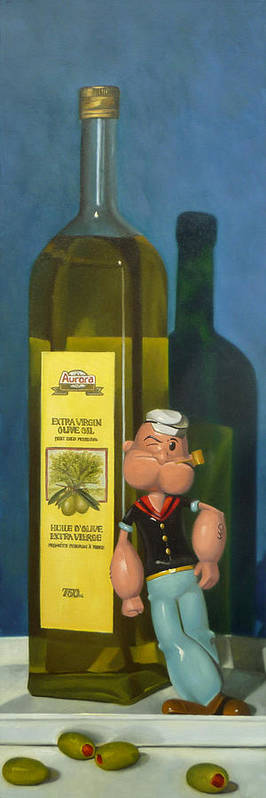 Still Life Poster featuring the painting Popeye And Olive Oil by Judy Sherman