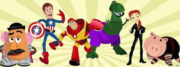 Toy Poster featuring the painting Toy Story Avengers by Lisa Leeman