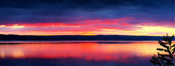 Lake Poster featuring the photograph Sunrise In Cayuga Lake Ithaca New York Panoramic Photography by Paul Ge