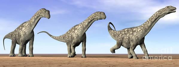 Three Dimensional Poster featuring the digital art Three Argentinosaurus Dinosaurs by Elena Duvernay
