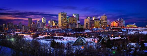 City Poster featuring the photograph Edmonton Winter Skyline by Corey Hochachka