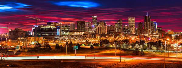 Denver Poster featuring the photograph Denver Skyline Sunrise by Darren White
