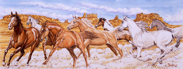 Horse Poster featuring the painting Desert Run by Richard De Wolfe