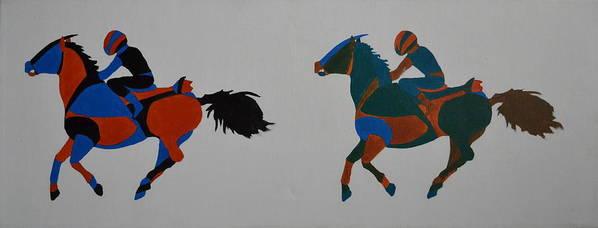 Jockey Poster featuring the painting Jockey by Vykky Gamble
