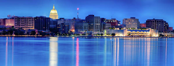 Capitol Poster featuring the photograph Madison Skyline Reflection by Sebastian Musial