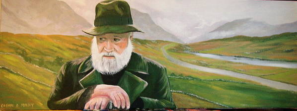 Irish Landscapes Paintings Ireland The Field Richard Harris Leenane Co Galway J.b Keane Poster featuring the painting Richard Harris In The Film Called The Field by Cathal O malley