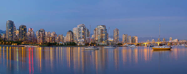 Vancouver Poster featuring the photograph Blue Hour At False Creek Vancouver Bc Canada by Jit Lim