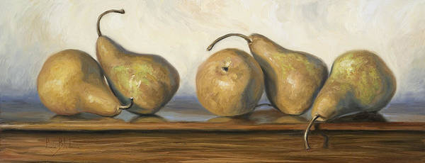Pear Poster featuring the painting Bosc Pears by Lucie Bilodeau
