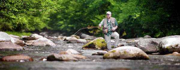 Adult Poster featuring the photograph Fly Fisherman Stands Among Large by Corey Nolen