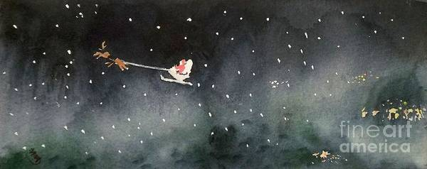 Christmas Poster featuring the painting Santa Is Coming by Yoshiko Mishina