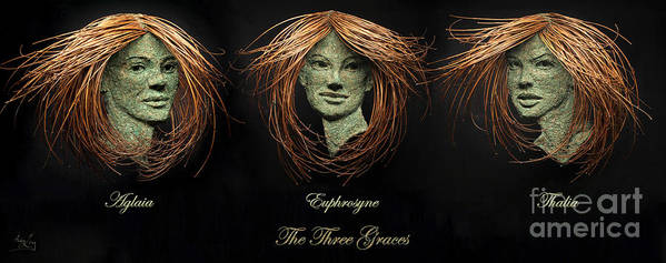 Art Poster featuring the relief The Three Graces by Adam Long