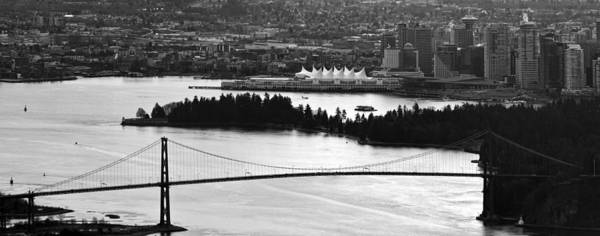 Vancouver Poster featuring the photograph Vancouver Bc City Skyline And Lions Gate Bridge by Jit Lim