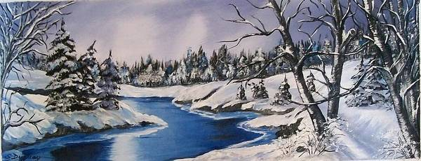 Snow Poster featuring the painting Winter's Blanket by Sharon Duguay