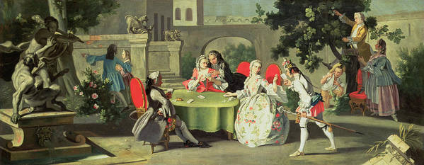 Terrace; Frock Coat; Messenger ;couple; Fig; Neopolitan Poster featuring the painting An Ornamental Garden With Elegant Figures Seated Around A Card Table by Filippo Falciatore