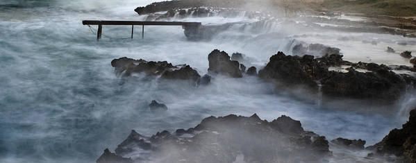 Beach Poster featuring the photograph Blue Storm..protaras by Stelios Kleanthous