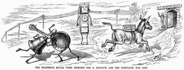 1886 Poster featuring the photograph Cartoon: Telephone, 1886 by Granger