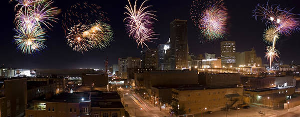Architecture Poster featuring the photograph Fireworks Over The City by Ricky Barnard