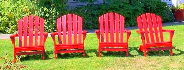 Adirondack Chair Poster featuring the photograph Open Seating by Randall Weidner