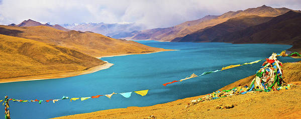 Horizontal Poster featuring the photograph Prayer Flags By Yamdok Yumtso Lake, Tibet by Feng Wei Photography