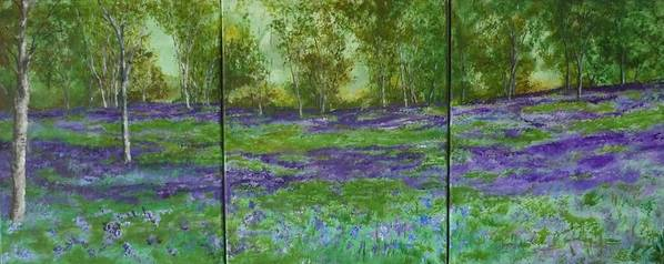 Landscape Poster featuring the painting Bluebell Meadow Triptych by Lizzy Forrester