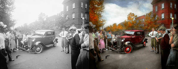 Stink Eye Poster featuring the photograph Car - Accident - Late For Tee Time 1932 - Side By Side by Mike Savad