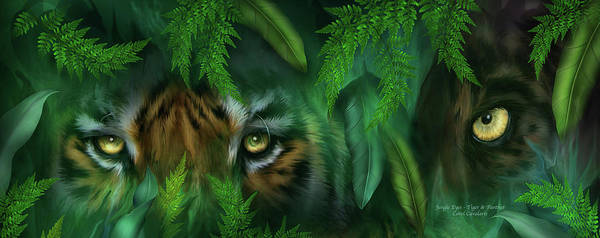 Big Cat Art Poster featuring the mixed media Jungle Eyes - Tiger And Panther by Carol Cavalaris