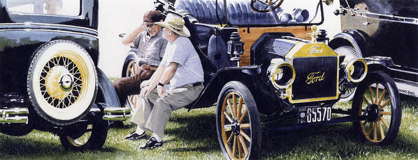 Antique Cars Poster featuring the painting Men And Their Toys by Denny Bond